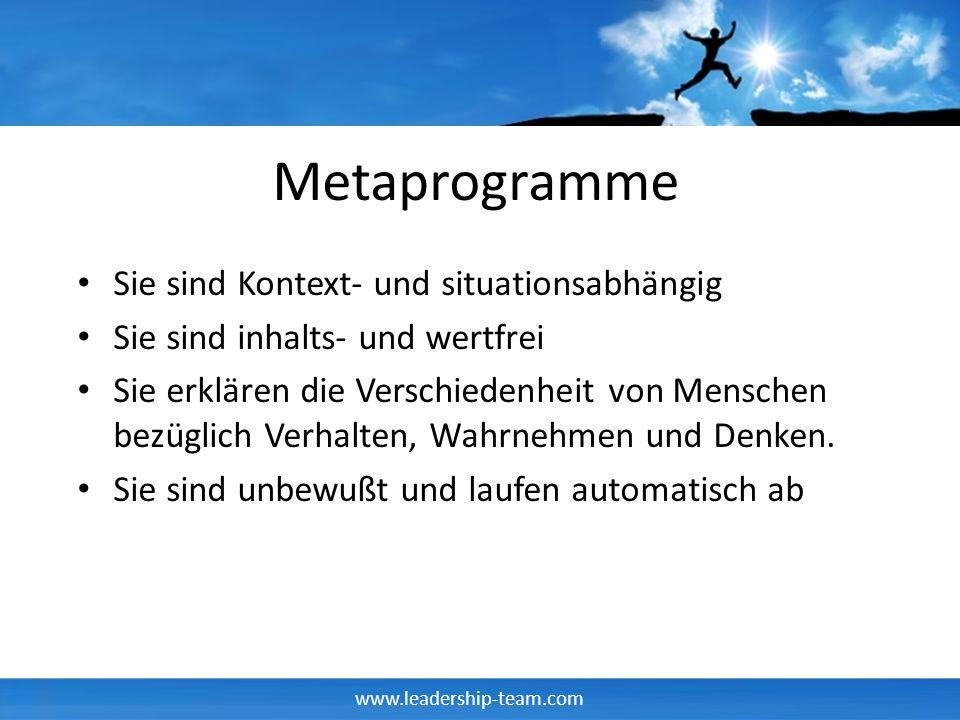 Metaprogramme Sie sind Kontext- und situationsabhängig