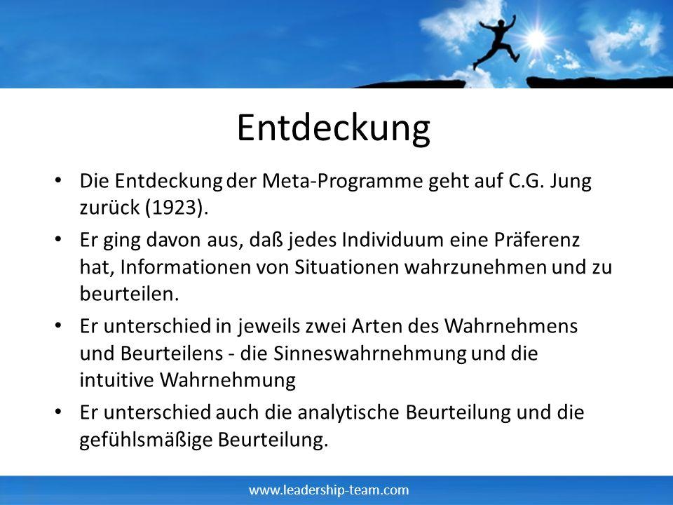 Entdeckung Die Entdeckung der Meta-Programme geht auf C.G. Jung zurück (1923).