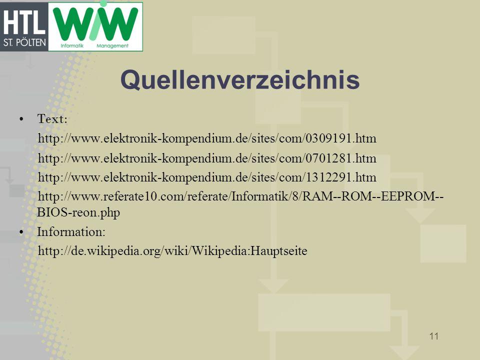 Quellenverzeichnis Text: