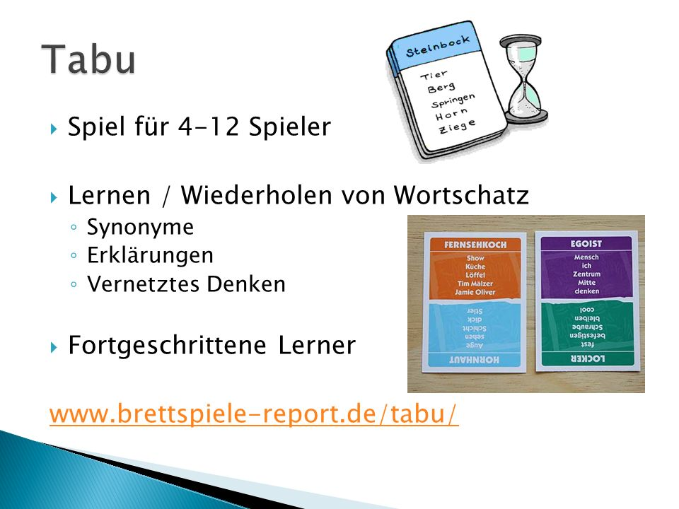 Tabu Spiel für 4-12 Spieler Lernen / Wiederholen von Wortschatz