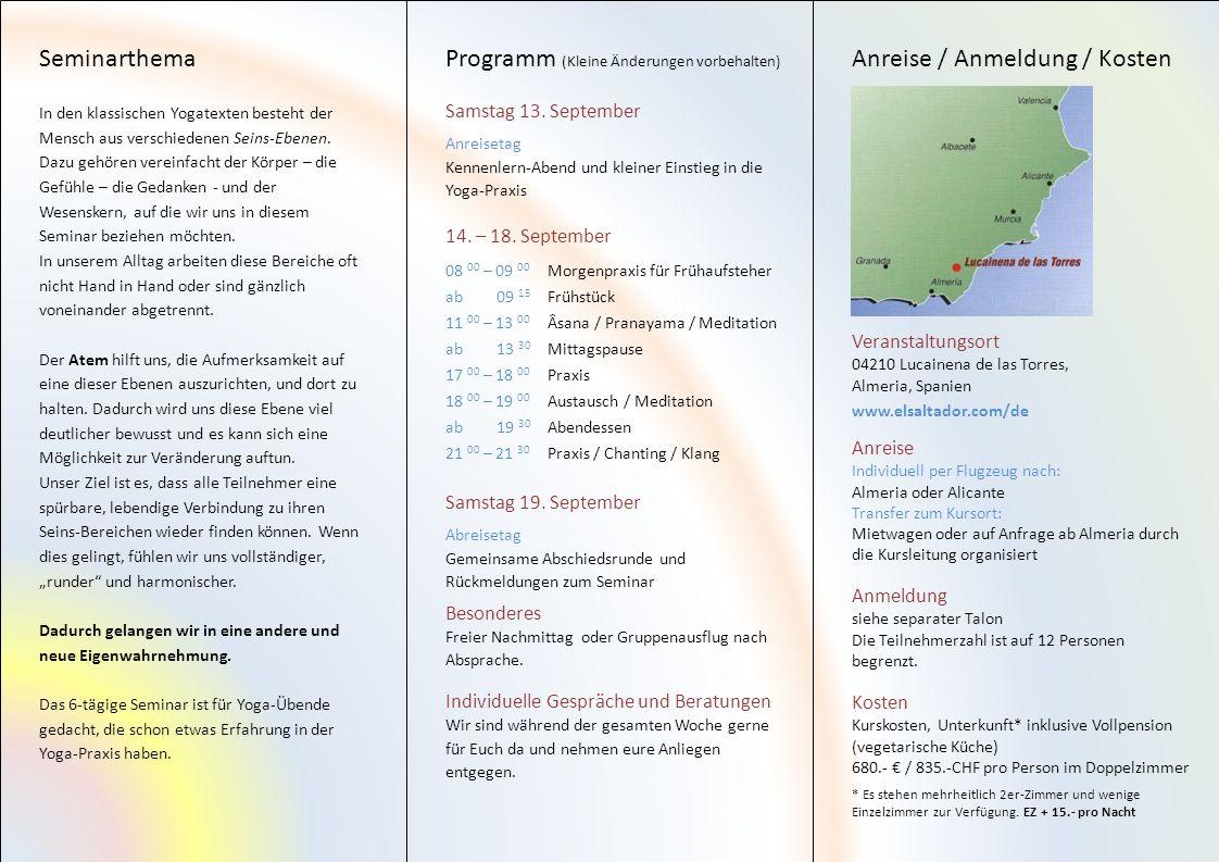Programm (Kleine Änderungen vorbehalten) Anreise / Anmeldung / Kosten