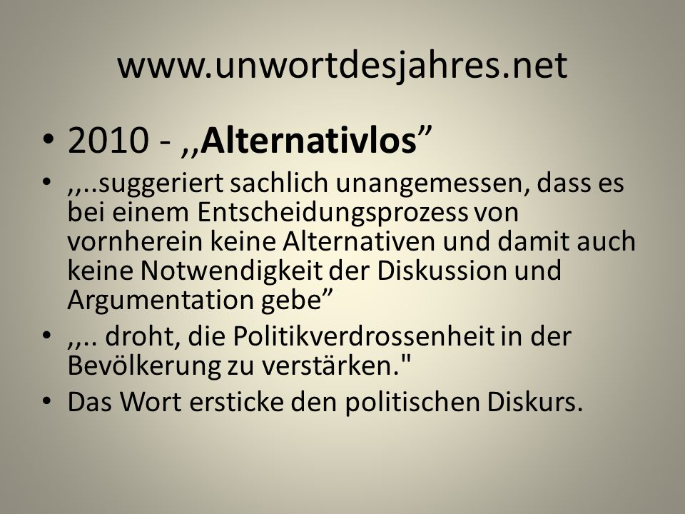 ,,Alternativlos