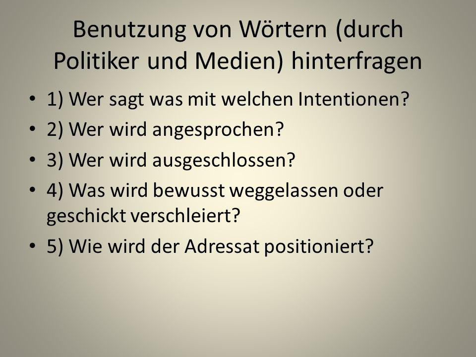 Benutzung von Wörtern (durch Politiker und Medien) hinterfragen
