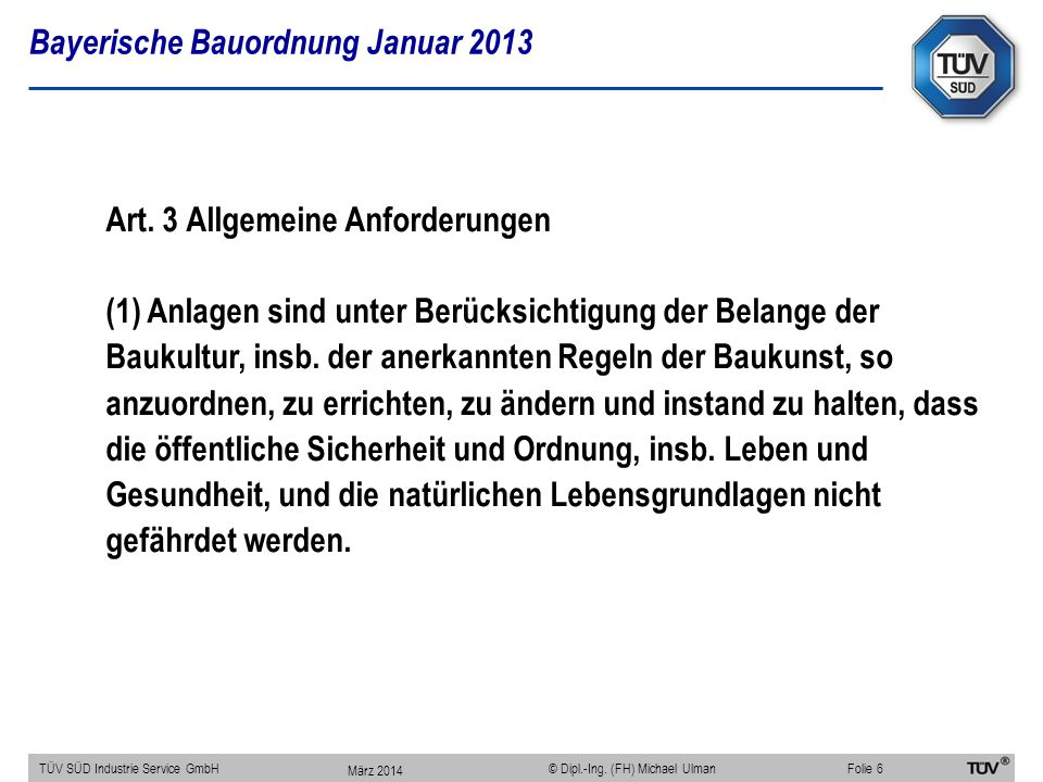 Bayerische Bauordnung Januar 2013
