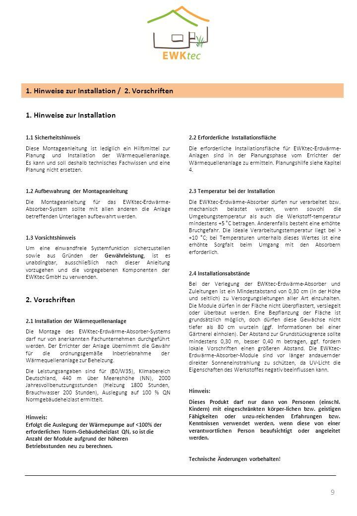 1. Hinweise zur Installation / 2. Vorschriften