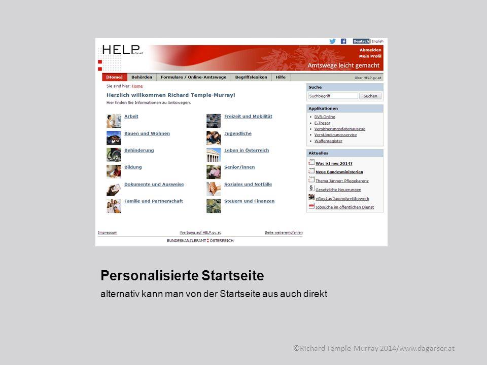 Personalisierte Startseite