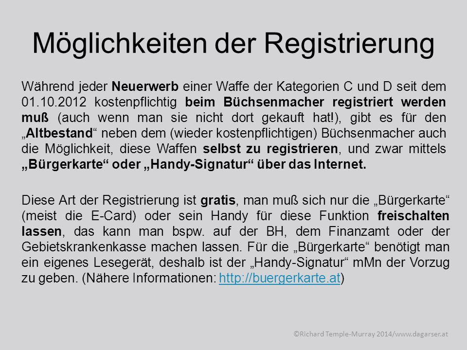 Möglichkeiten der Registrierung