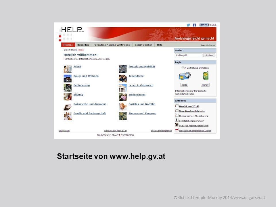 Startseite von www.help.gv.at