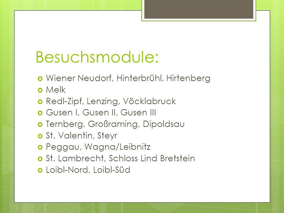 Besuchsmodule: Wiener Neudorf, Hinterbrühl, Hirtenberg Melk