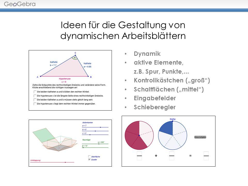 Ideen für die Gestaltung von dynamischen Arbeitsblättern