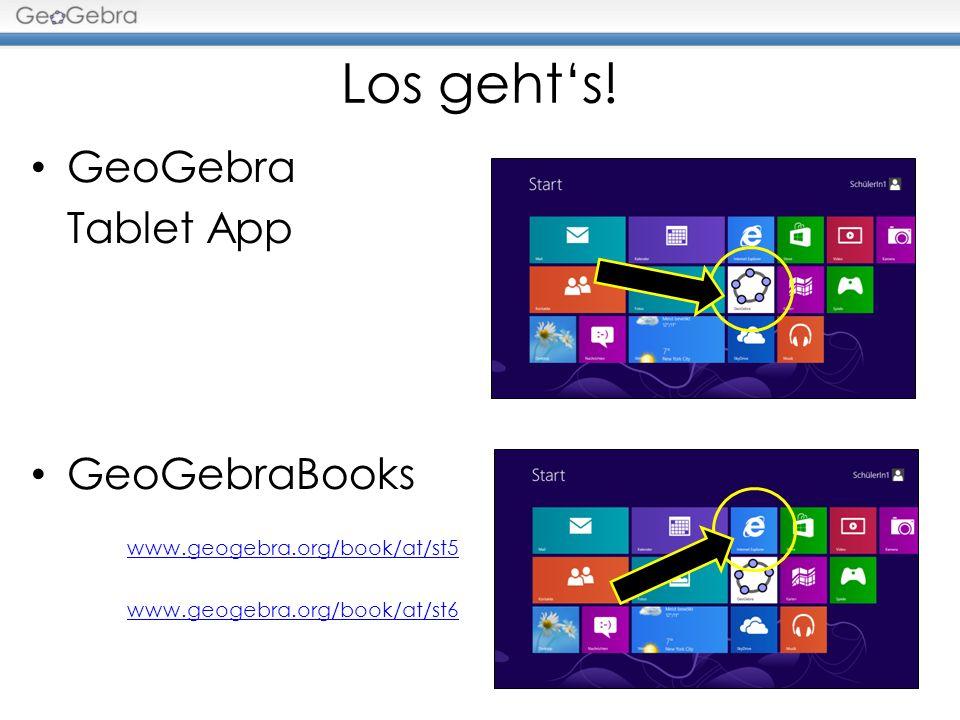 Los geht's! GeoGebra Tablet App GeoGebraBooks