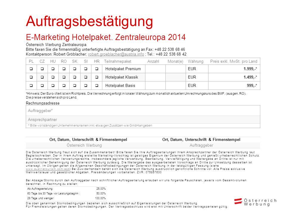 Auftragsbestätigung E-Marketing Hotelpaket. Zentraleuropa 2014