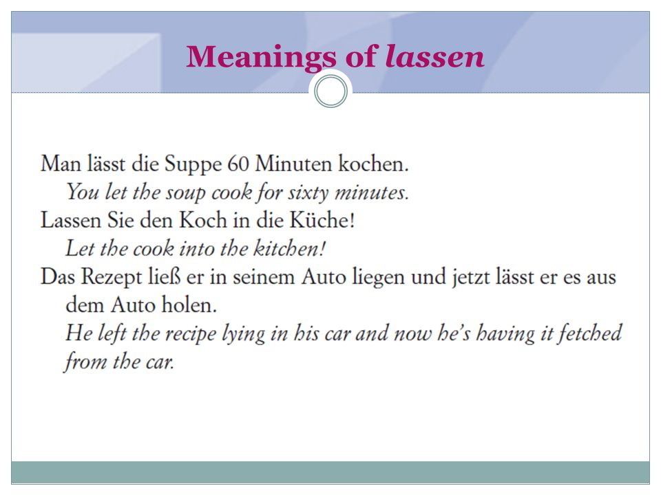 Meanings of lassen (textbook page 163-164)