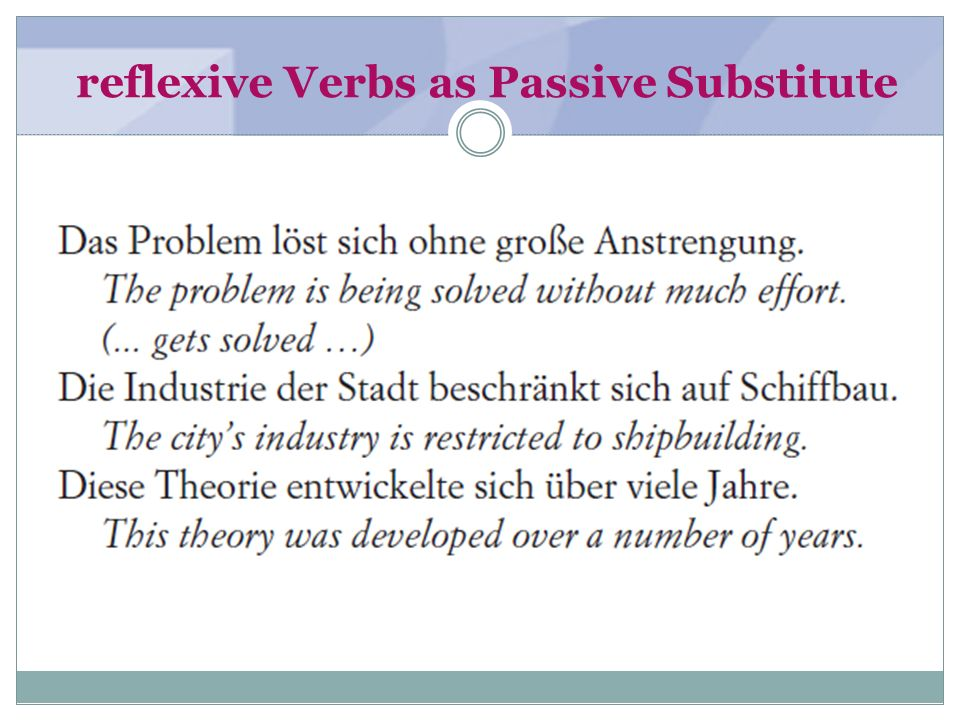 reflexive Verbs as Passive Substitute