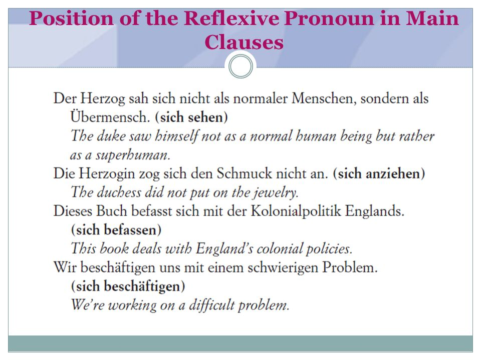 Position of the Reflexive Pronoun in Main Clauses