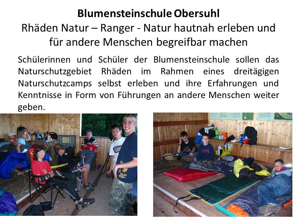 Blumensteinschule Obersuhl Rhäden Natur – Ranger - Natur hautnah erleben und für andere Menschen begreifbar machen