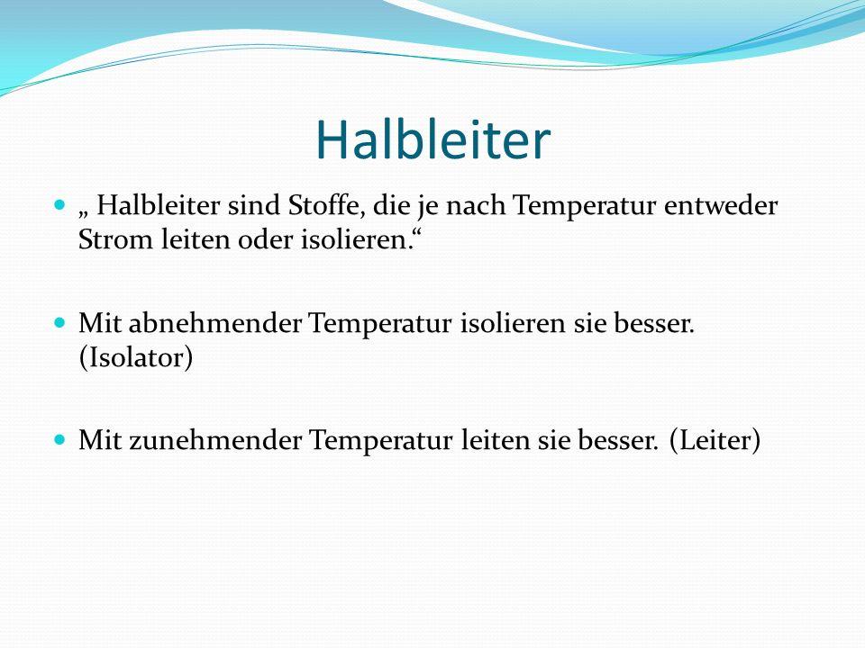 """Halbleiter """" Halbleiter sind Stoffe, die je nach Temperatur entweder Strom leiten oder isolieren."""