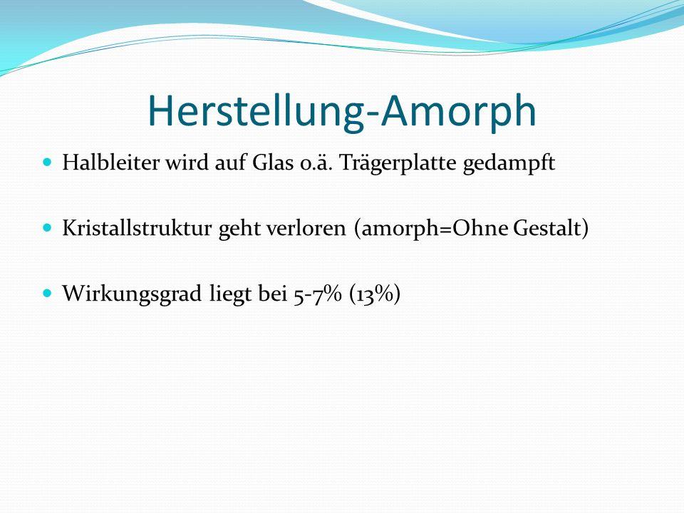 Herstellung-Amorph Halbleiter wird auf Glas o.ä. Trägerplatte gedampft