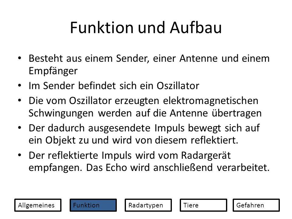 Funktion und Aufbau Besteht aus einem Sender, einer Antenne und einem Empfänger. Im Sender befindet sich ein Oszillator.