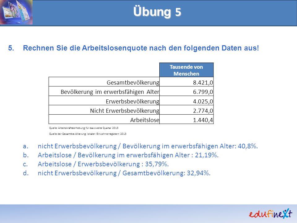 Übung 5 Rechnen Sie die Arbeitslosenquote nach den folgenden Daten aus! nicht Erwerbsbevölkerung / Bevölkerung im erwerbsfähigen Alter: 40,8%.