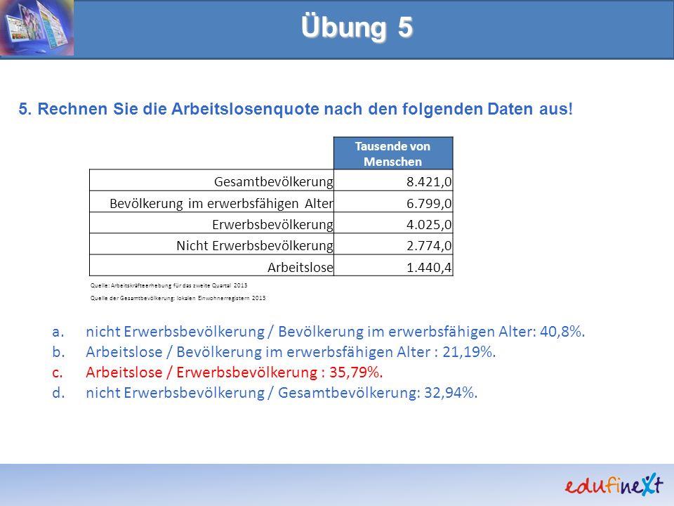 Übung 5 5. Rechnen Sie die Arbeitslosenquote nach den folgenden Daten aus! nicht Erwerbsbevölkerung / Bevölkerung im erwerbsfähigen Alter: 40,8%.