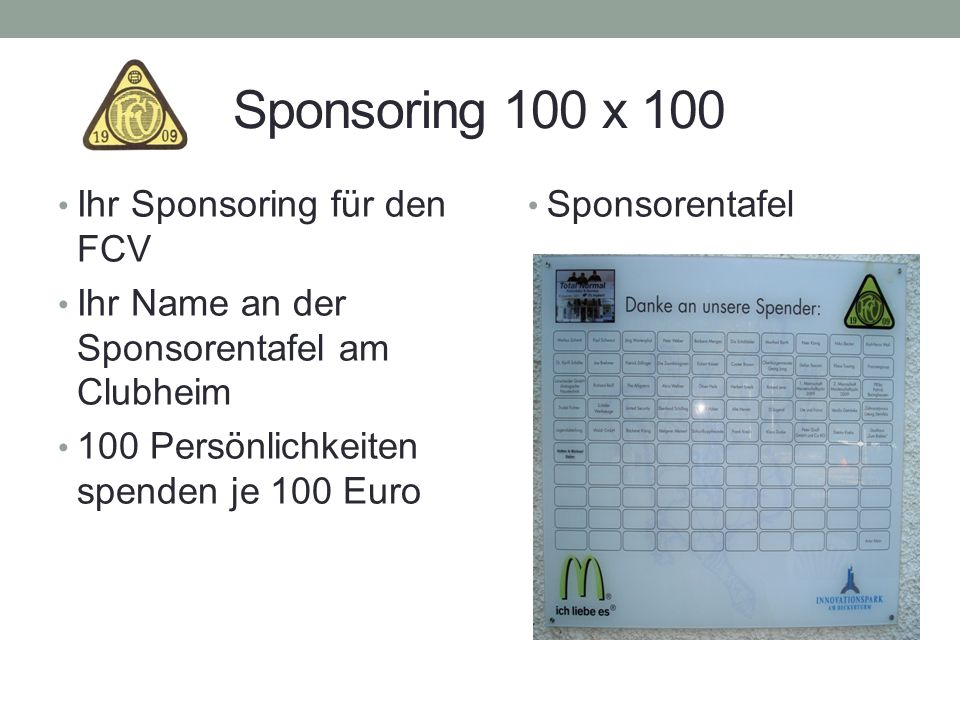 Sponsoring 100 x 100 Ihr Sponsoring für den FCV
