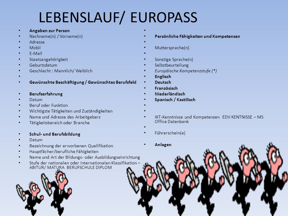 LEBENSLAUF/ EUROPASS Angaben zur Person Nachname(n) / Vorname(n)