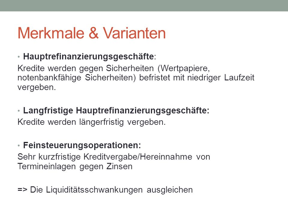 Merkmale & Varianten Hauptrefinanzierungsgeschäfte: