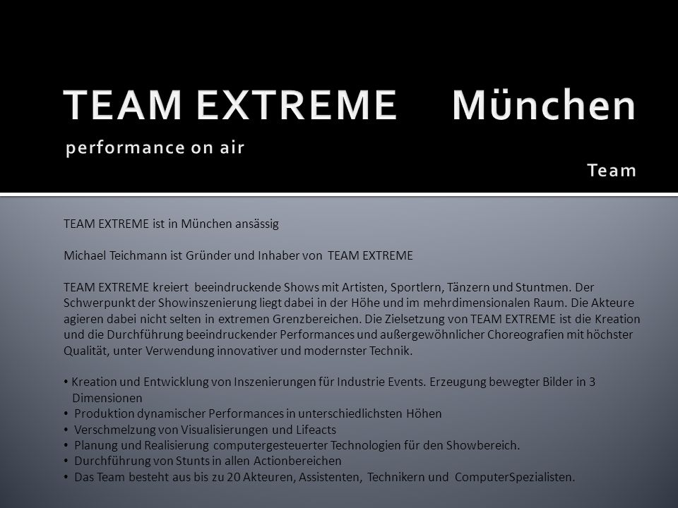 TEAM EXTREME München performance on air Team