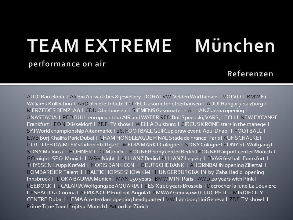 TEAM EXTREME München performance on air Referenzen
