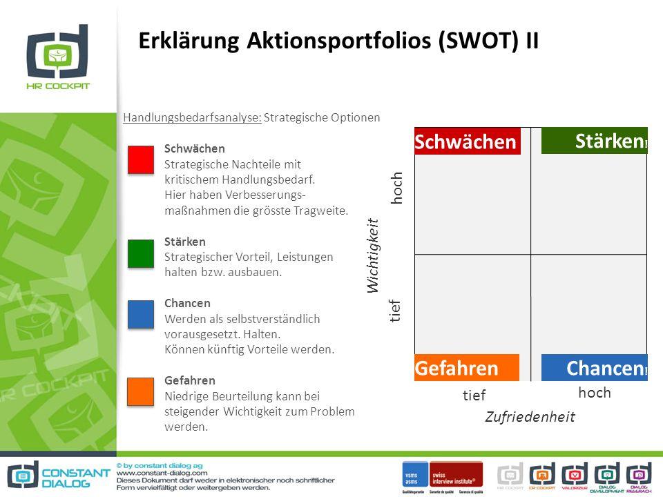 Erklärung Aktionsportfolios (SWOT) II