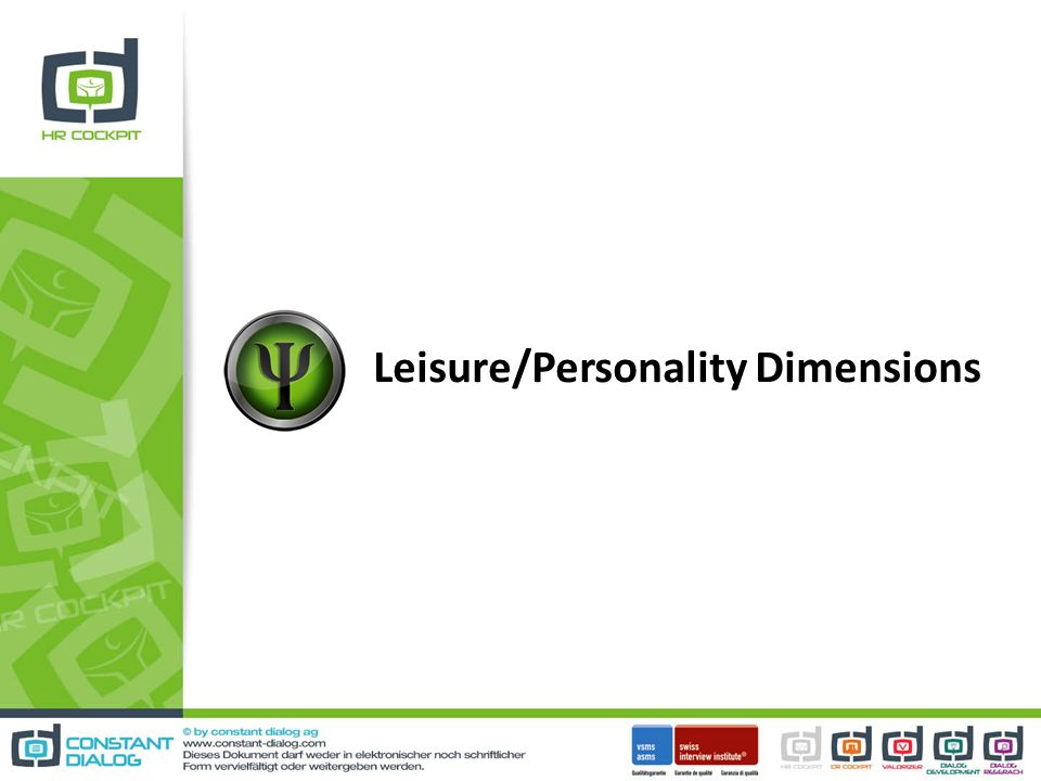 Leisure/Personality Dimensions