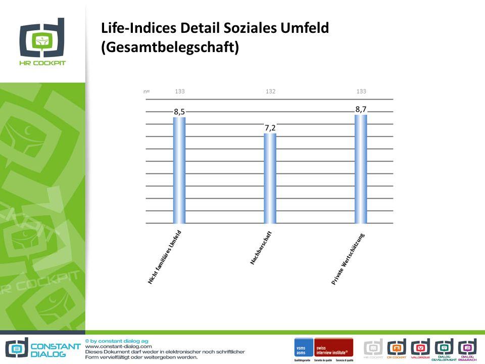 Life-Indices Detail Soziales Umfeld (Gesamtbelegschaft)