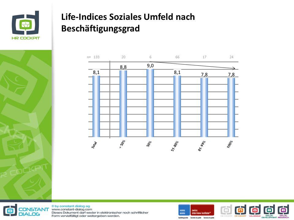 Life-Indices Soziales Umfeld nach Beschäftigungsgrad