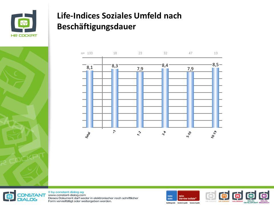 Life-Indices Soziales Umfeld nach Beschäftigungsdauer