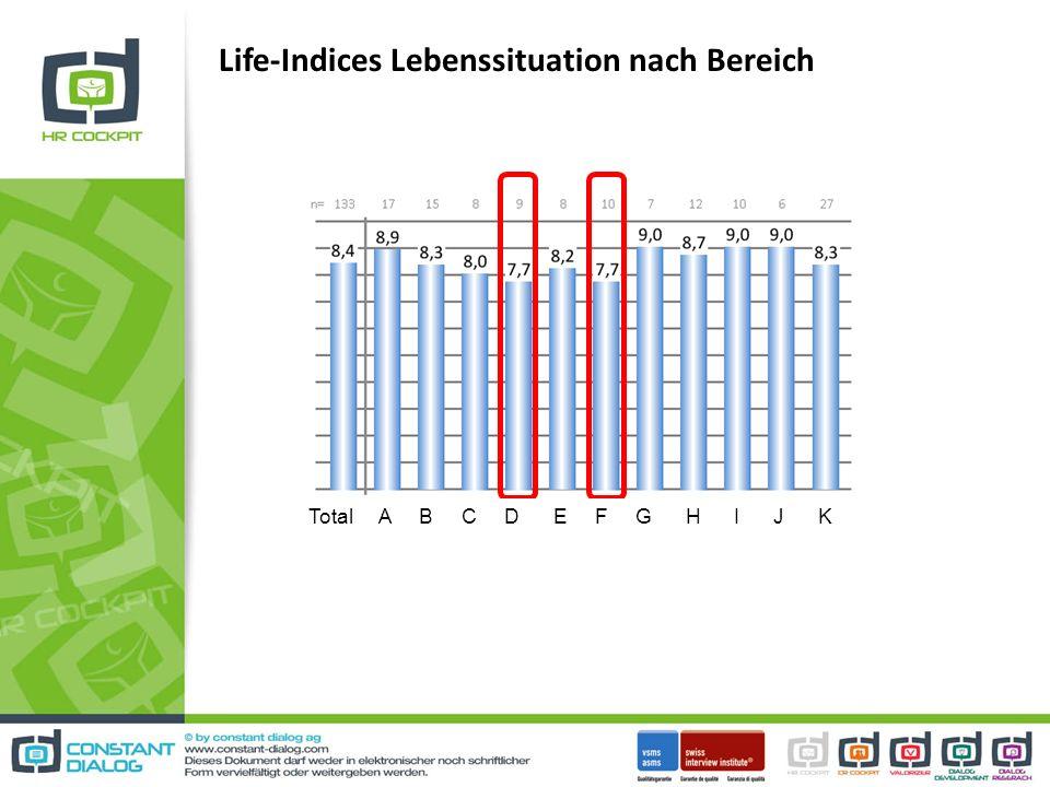 Life-Indices Lebenssituation nach Bereich