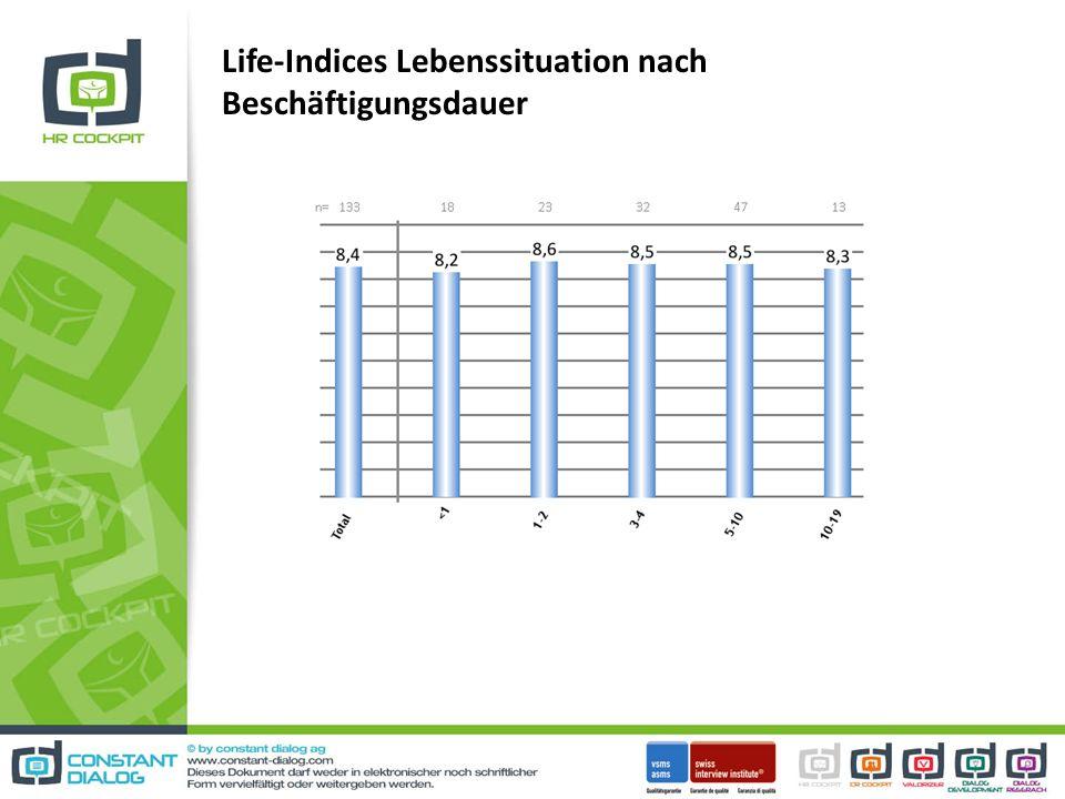 Life-Indices Lebenssituation nach Beschäftigungsdauer