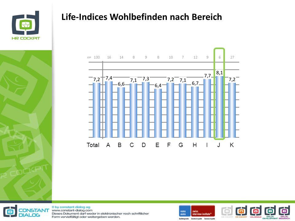 Life-Indices Wohlbefinden nach Bereich