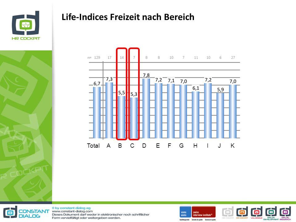 Life-Indices Freizeit nach Bereich