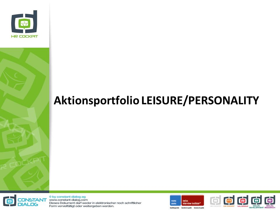 Aktionsportfolio LEISURE/PERSONALITY