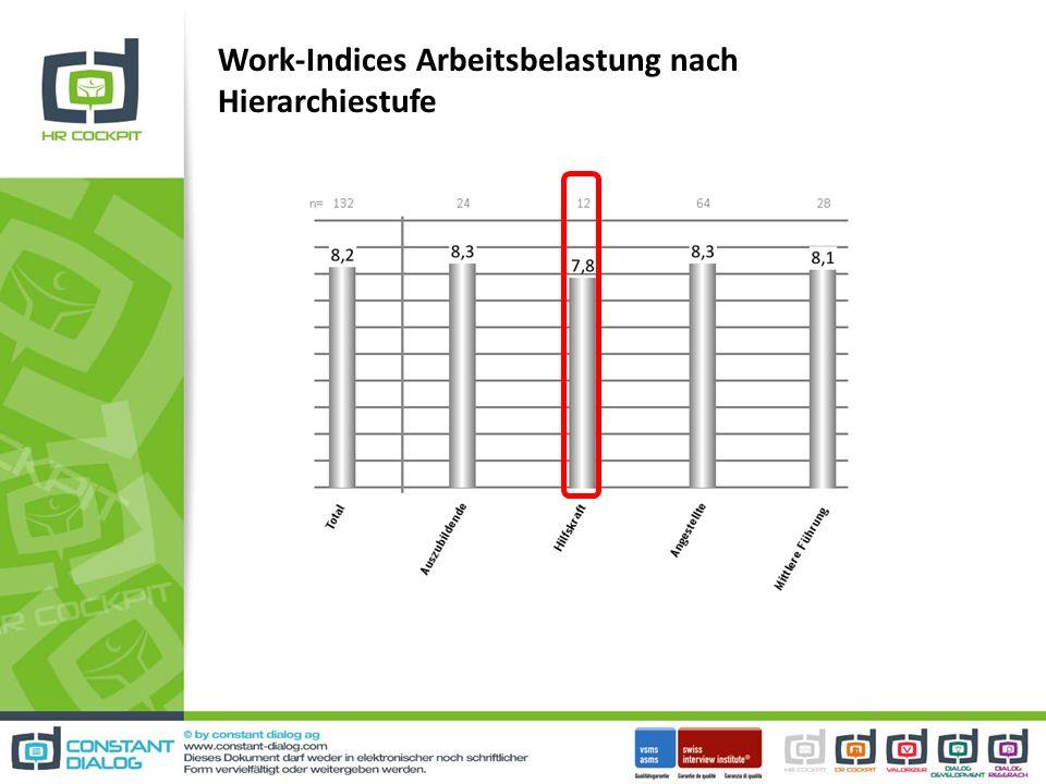 Work-Indices Arbeitsbelastung nach Hierarchiestufe