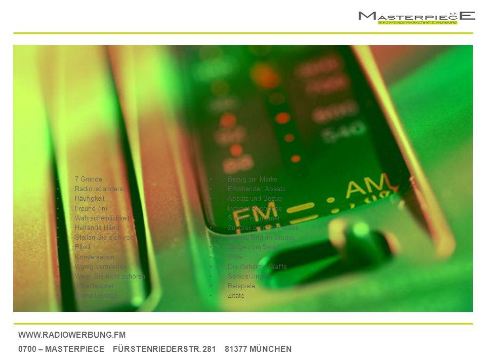 7 Gründe Radio ist anders. Häufigkeit. Freund (in) Wahrscheinlichkeit. Helfende Hand. Stellen Sie sich vor.