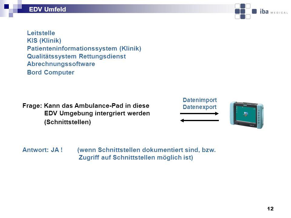 Patienteninformationssystem (Klinik) Qualitätssystem Rettungsdienst