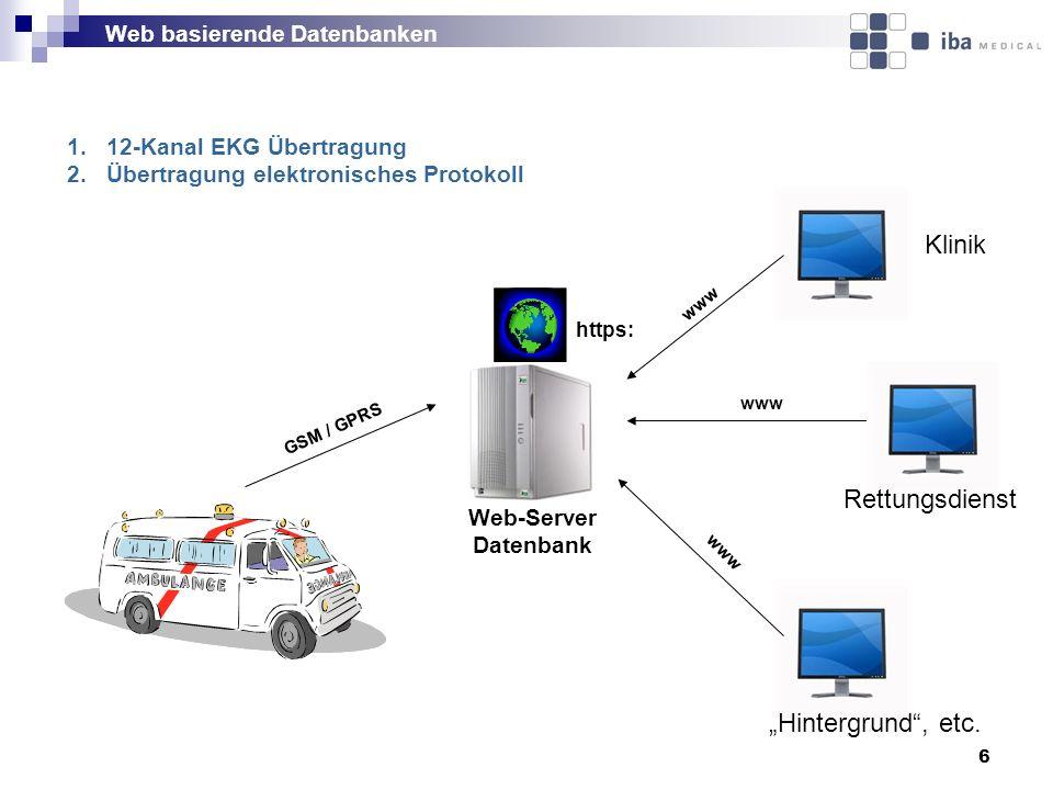 """Klinik Rettungsdienst """"Hintergrund , etc. Web basierende Datenbanken"""