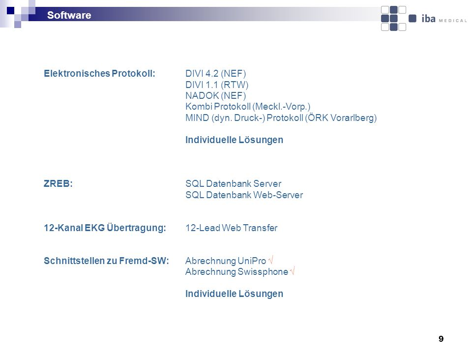 Software Elektronisches Protokoll: DIVI 4.2 (NEF) DIVI 1.1 (RTW)