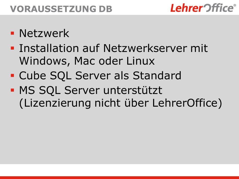 Installation auf Netzwerkserver mit Windows, Mac oder Linux