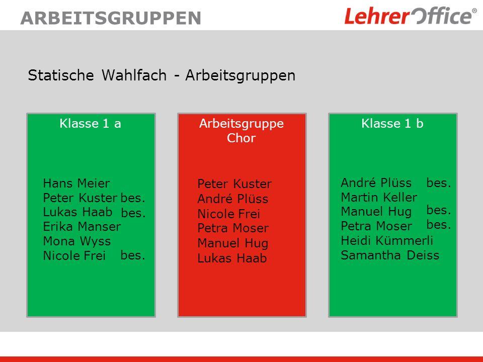 arbeitsgruppen Statische Wahlfach - Arbeitsgruppen Klasse 1 a