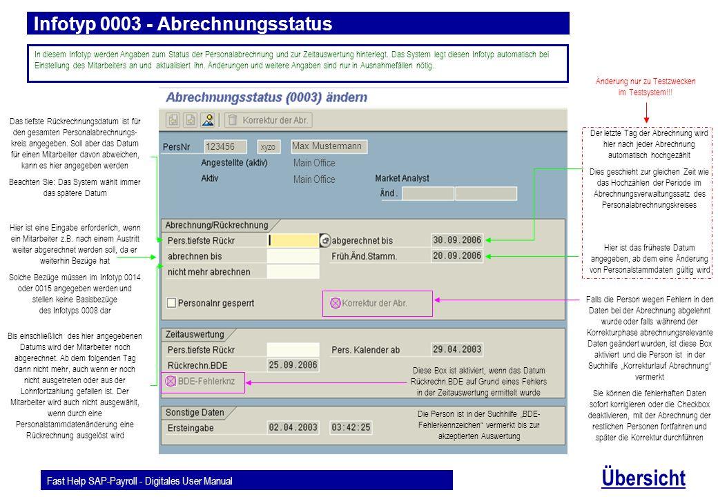 Infotyp 0003 - Abrechnungsstatus