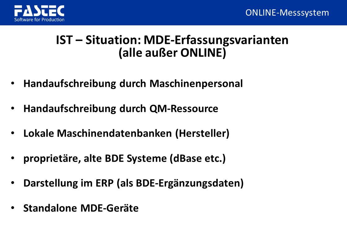 IST – Situation: MDE-Erfassungsvarianten (alle außer ONLINE)