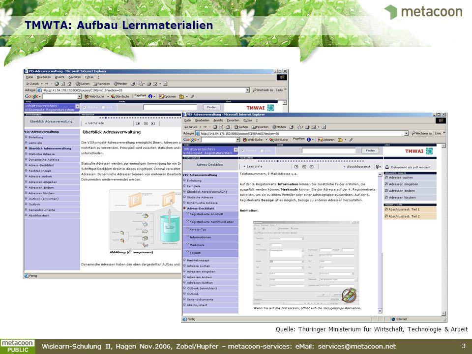 TMWTA: Aufbau Lernmaterialien